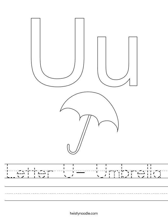 Letter U- Umbrella Worksheet