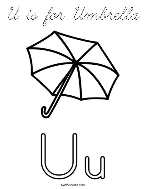 U is for umbrella coloring page cursive twisty noodle for Twisty noodle coloring pages letters