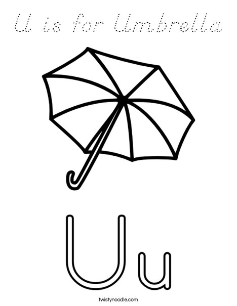 U Is For Umbrella Coloring Page U is for Umbrel...