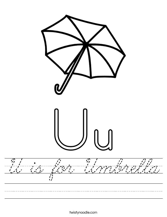 U is for Umbrella Worksheet