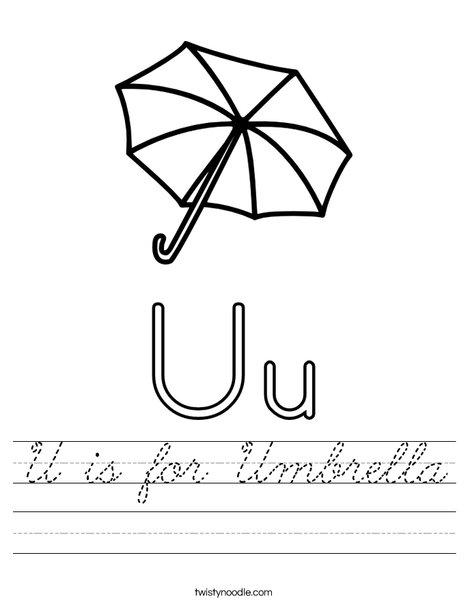 Letter U Umbrella Worksheet