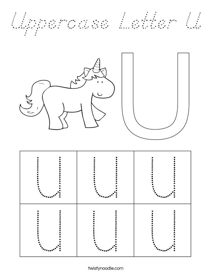 Uppercase Letter U Coloring Page