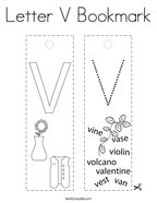Letter V Bookmark Coloring Page