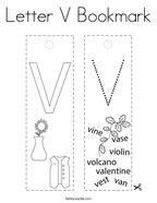 Letter V Bookmark Coloring Page