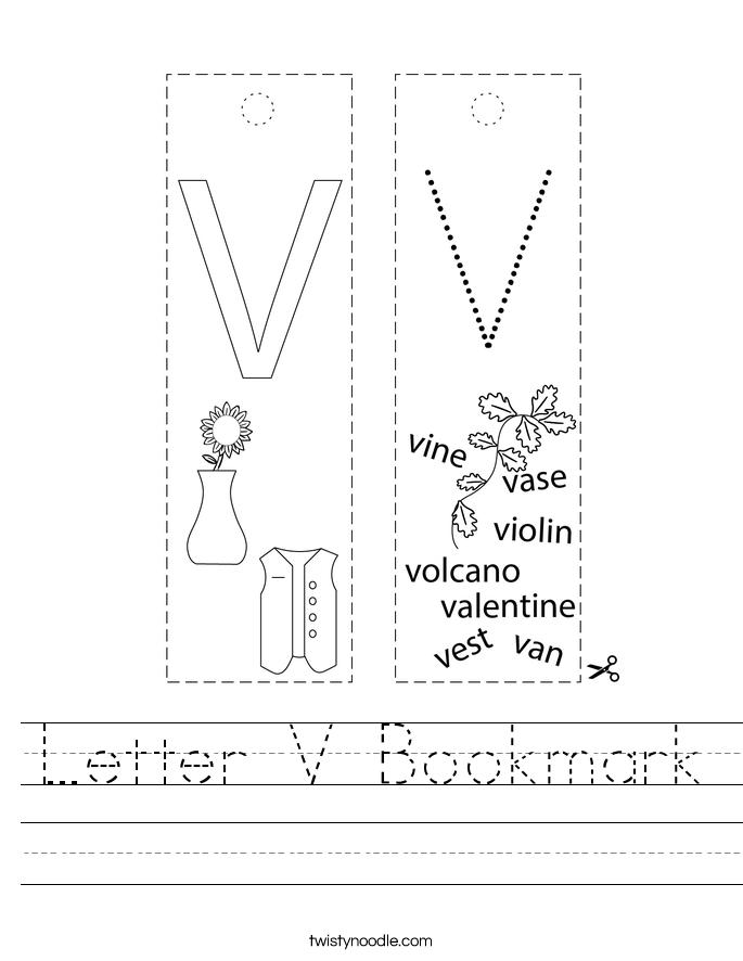 Letter V Bookmark Worksheet