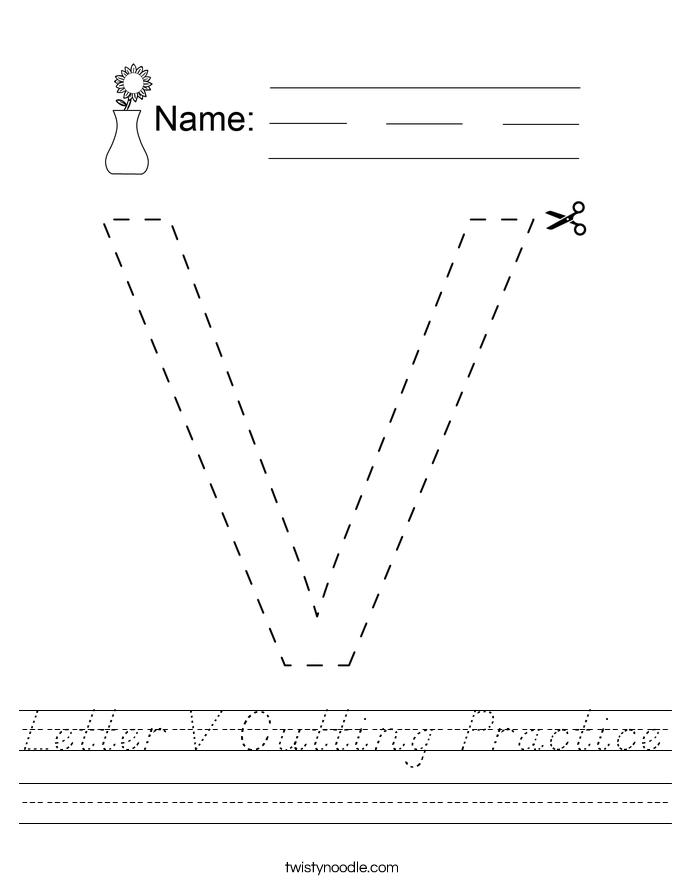Letter V Cutting Practice Worksheet