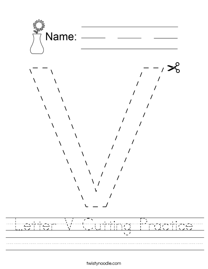 Letter V Cutting Practice Worksheet