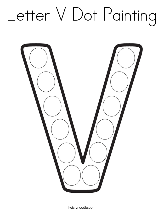 Letter V Dot Painting Coloring Page