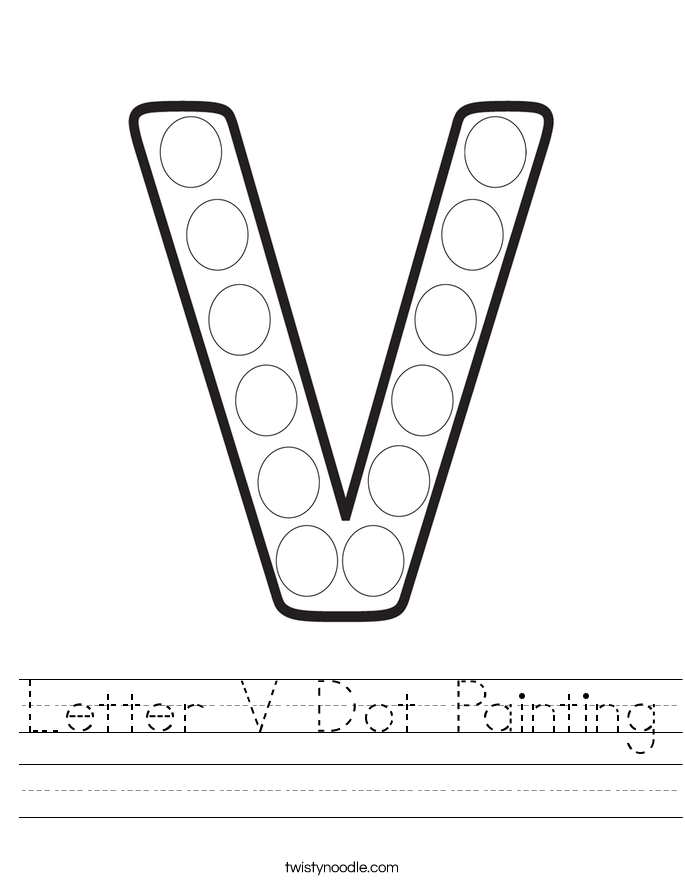 Letter V Dot Painting Worksheet