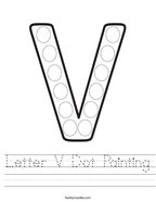 Letter V Dot Painting Handwriting Sheet