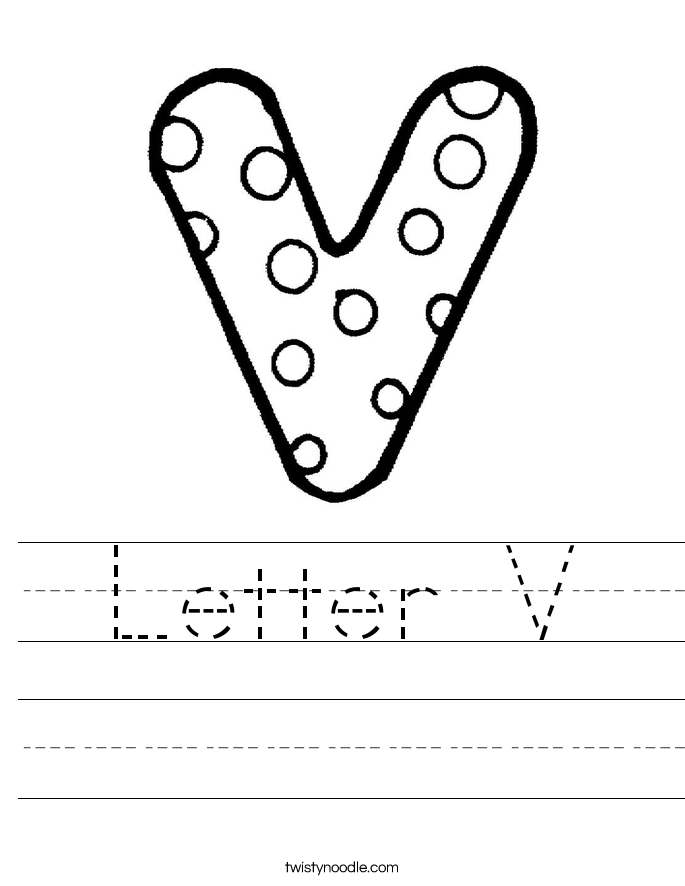 Worksheets Letter V Worksheet letter v worksheets twisty noodle handwriting sheet
