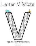 Letter V Maze Coloring Page