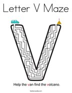Letter V Maze Coloring Page