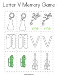 Letter V Memory Game Coloring Page