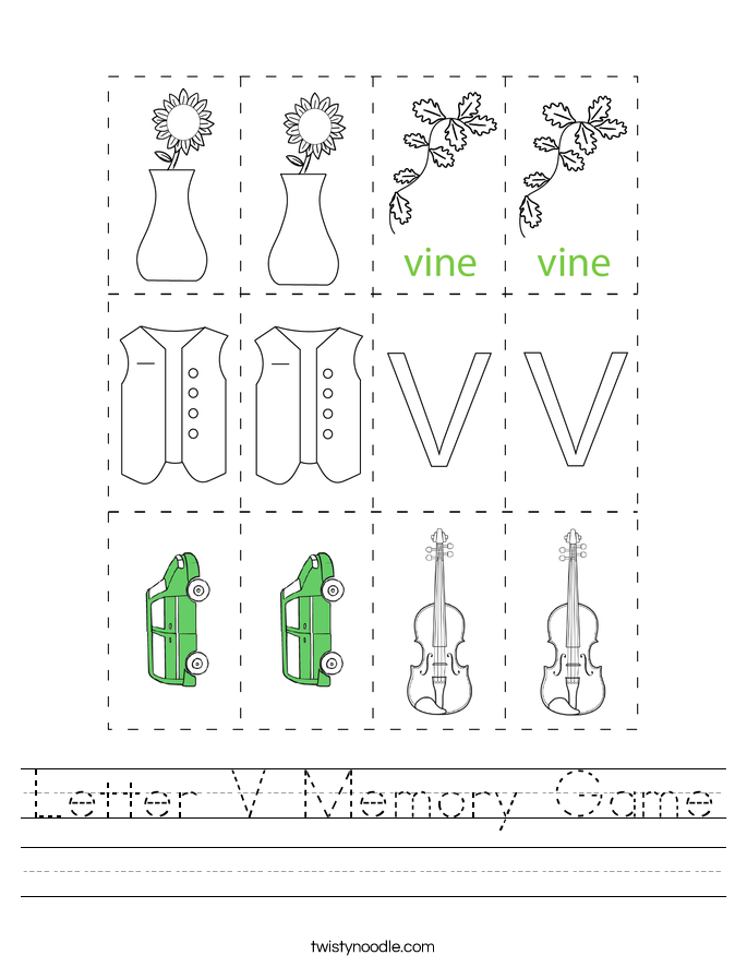 Letter V Memory Game Worksheet