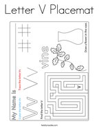Letter V Placemat Coloring Page
