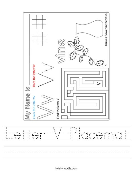Letter V Placemat Worksheet