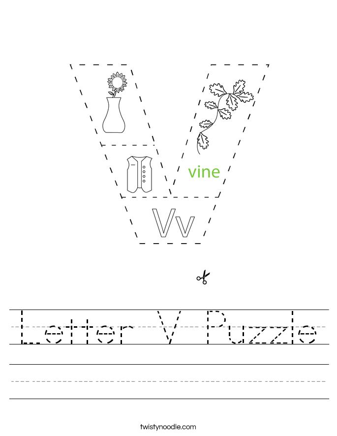 Letter V Puzzle Worksheet