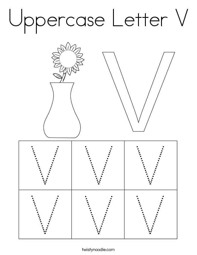 Uppercase Letter V Coloring Page