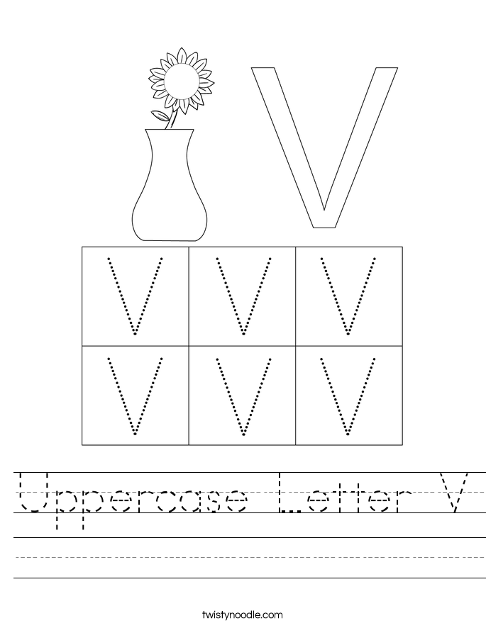 Uppercase Letter V Worksheet