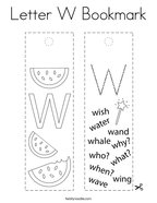 Letter W Bookmark Coloring Page