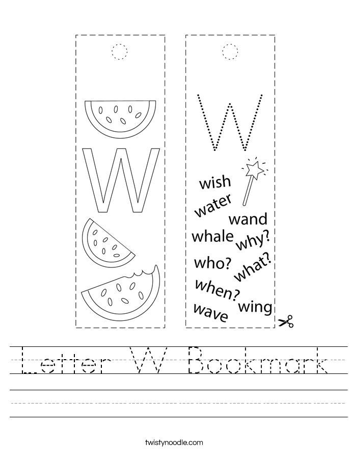 Letter W Bookmark Worksheet