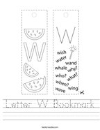 Letter W Bookmark Handwriting Sheet