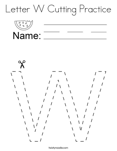 Letter W Cutting Practice Coloring Page