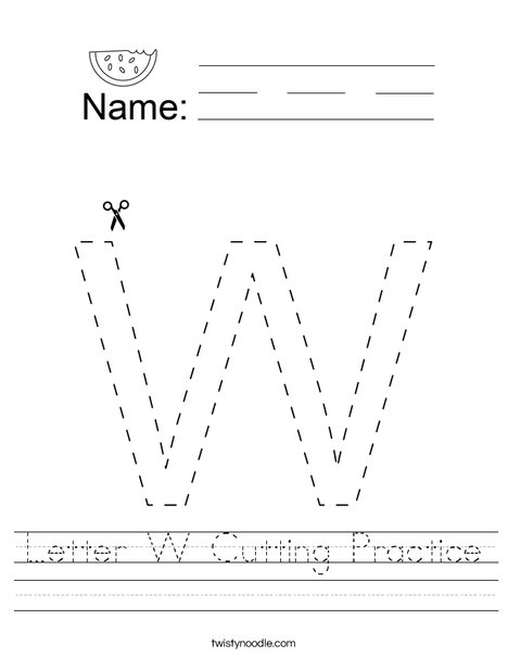 Letter W Cutting Practice Worksheet