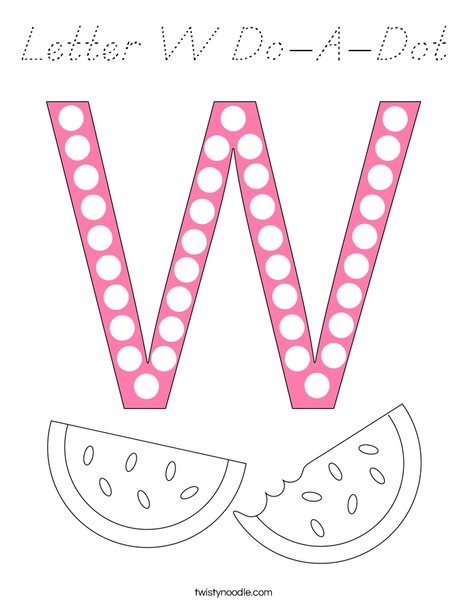 Letter W Do-A-Dot Coloring Page