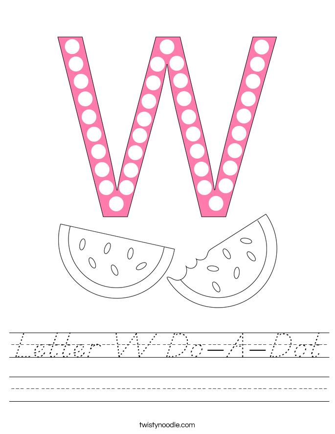 Letter W Do-A-Dot Worksheet
