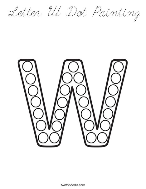 Letter W Dot Painting Coloring Page