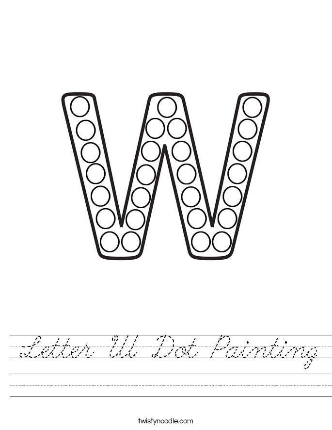 Letter W Dot Painting Worksheet
