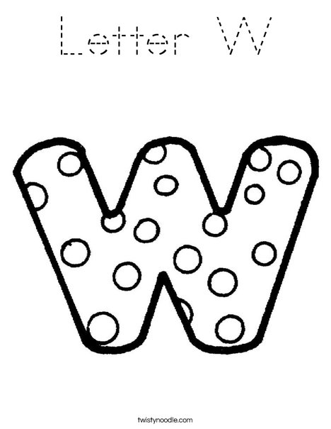 Letter W Dots Coloring Page