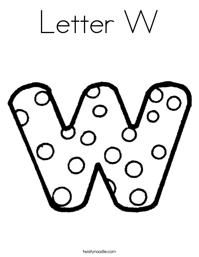 Letter W Coloring Page Twisty Noodle