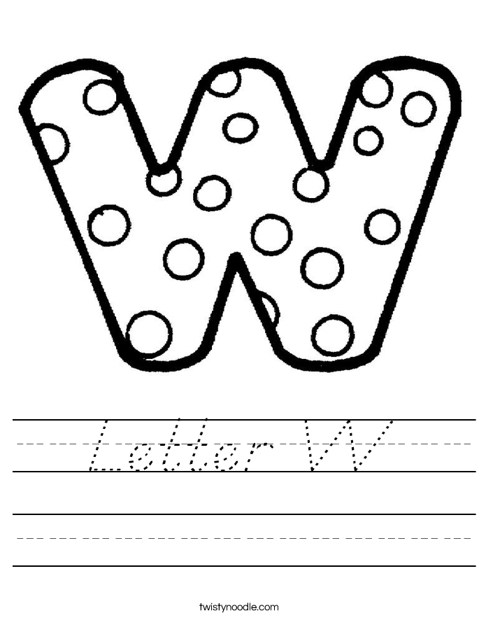Letter W Worksheet