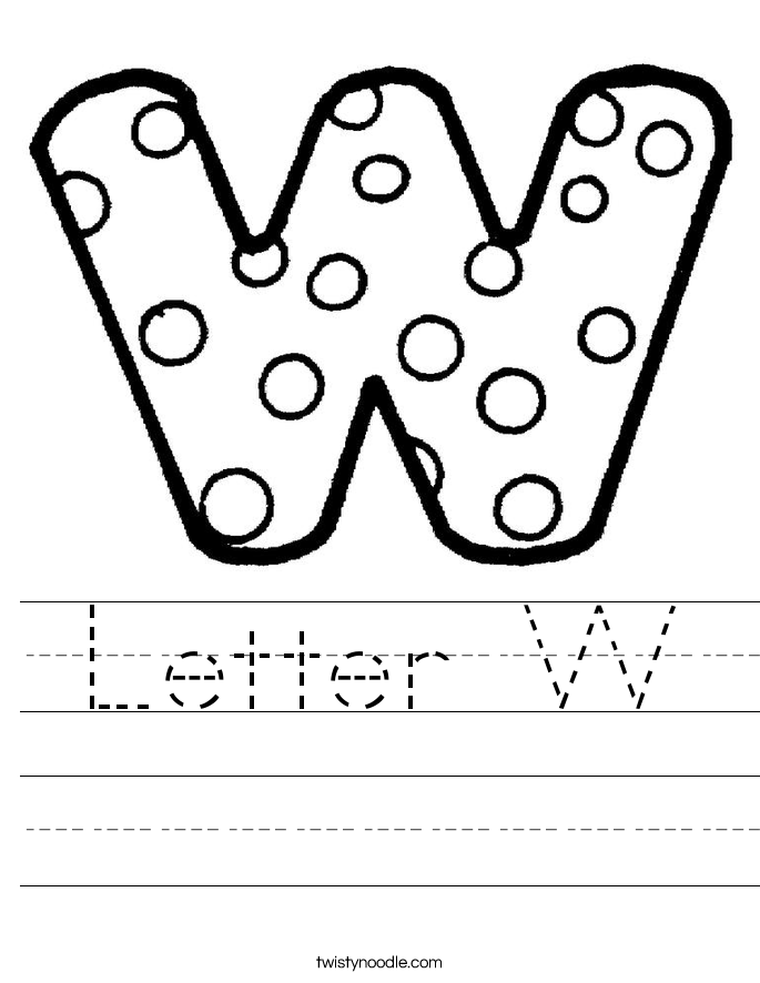 Worksheets Letter W Worksheets letter w worksheets twisty noodle handwriting sheet