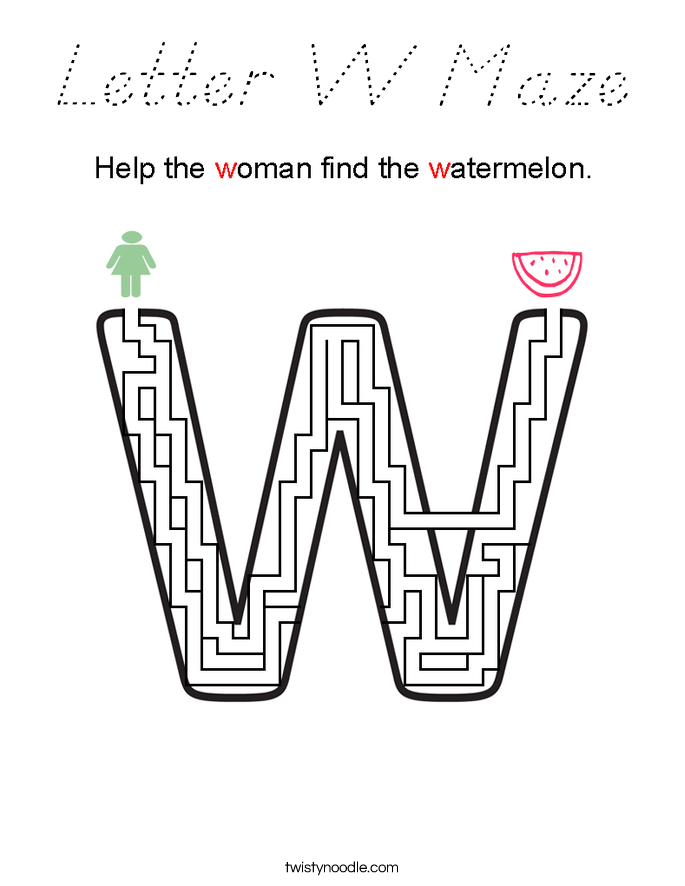 Letter W Maze Coloring Page
