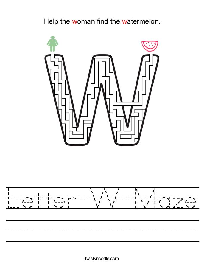 Letter W Maze Worksheet