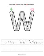 Letter W Maze Handwriting Sheet