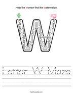 Letter W Maze Handwriting Sheet