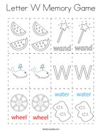 Letter W Memory Game Coloring Page