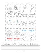 Letter W Memory Game Handwriting Sheet