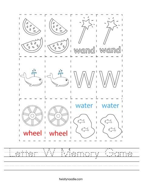 Letter W Memory Game Worksheet