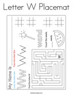 Letter W Placemat Coloring Page