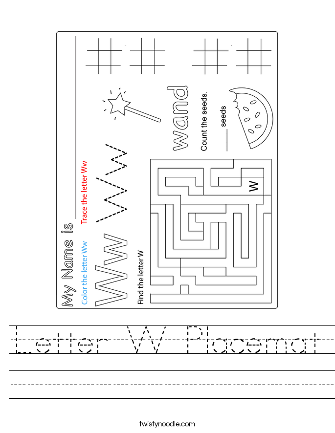 Letter W Placemat Worksheet