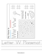 Letter W Placemat Handwriting Sheet