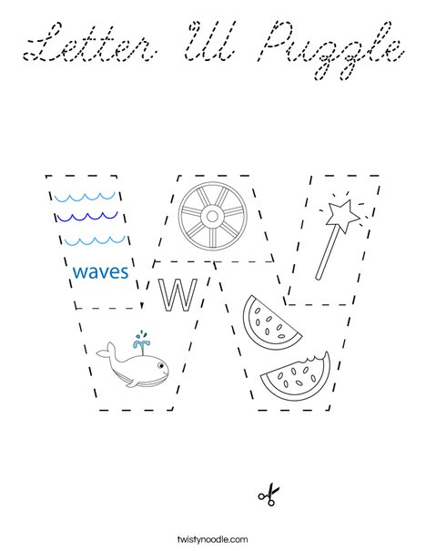 Letter W Puzzle Coloring Page