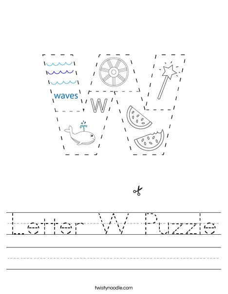 Letter W Puzzle Worksheet