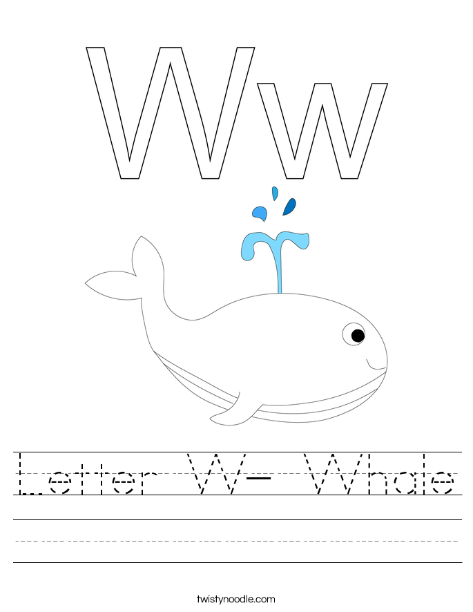 Letter W- Whale Worksheet